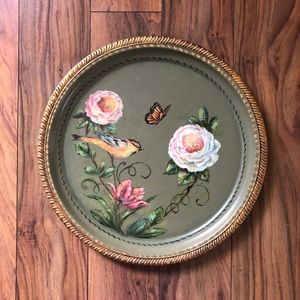 Hand Painted Birds and Flowers Vintage Round Tray